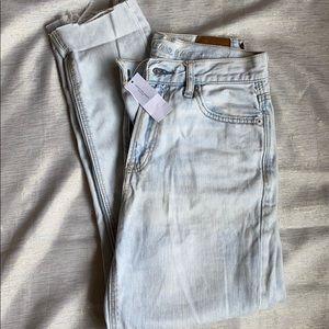 NWT distressed acid wash mom jeans